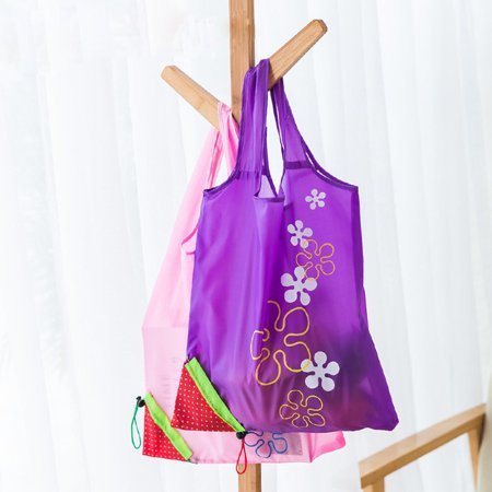 Cute Strawberry Design Foldable Polyester Shopping Bag Environment Handle Bag - image 1 of 7
