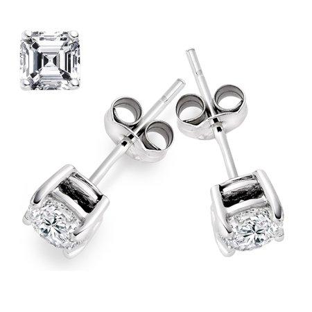 1/2 Diameter Stud - ZilverZoom .925 Sterling Silver Cz Asscher Cut 6mm Diameter Studs Earrings