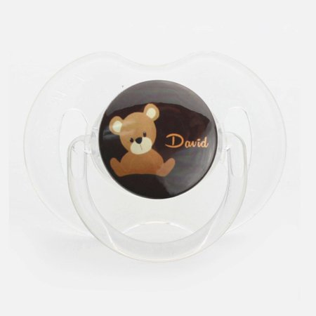 Personalized Name Teddy Bear Pacifier, Symmetric