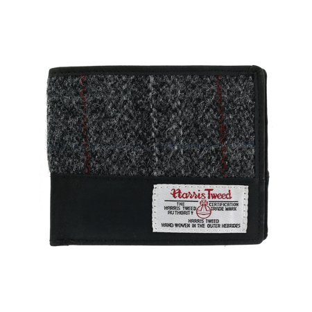 Size one size Men's Berneray Harris Tweed and Leather Bifold Wallet, Black - Mans Harris Tweed
