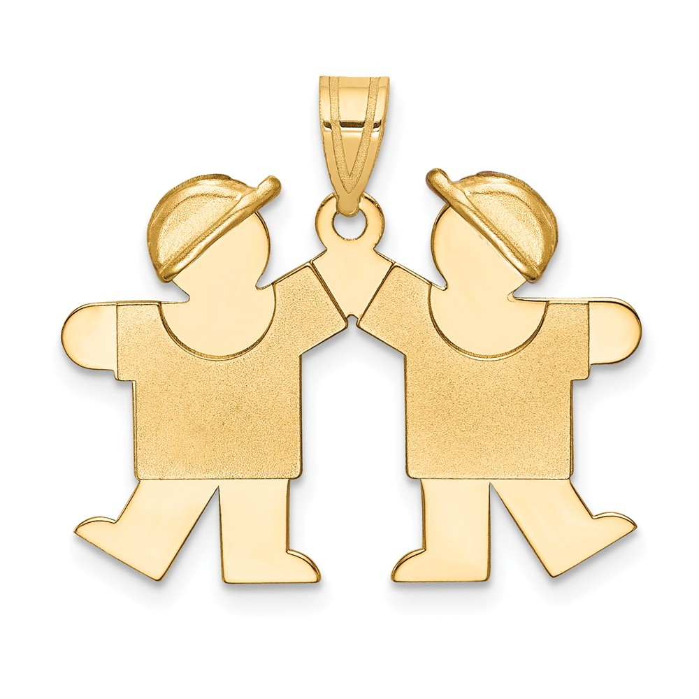 14k Yellow Gold Solid Double Boys Engravable Charm (0.9in long x 1in wide)