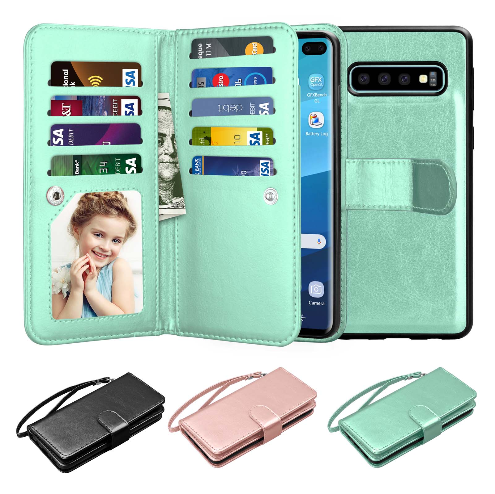 "6.4"" 2019 Galaxy S10 Plus Case, Samsung S10 Plus Wallet Case, Njjex Luxury Pu Leather 9 Card Slots Holder Carrying Folio Flip Cover [Detachable Magnetic Hard Case] & Kickstand & Hand Strap"