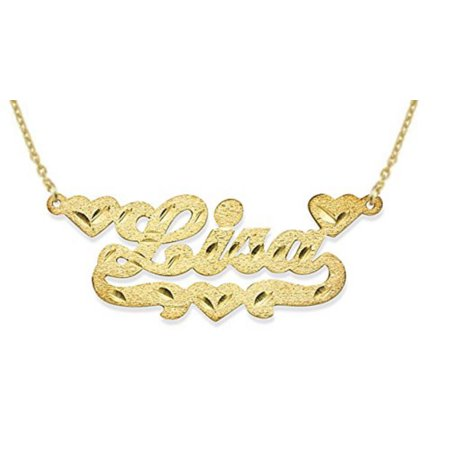 Personalized 3 Heart Satin Diamond Cut Nameplate Necklace Sterling Silver or Yellow Gold Plated Silver. Special Order, Made to Order. Diamond Cut Out Heart Necklace
