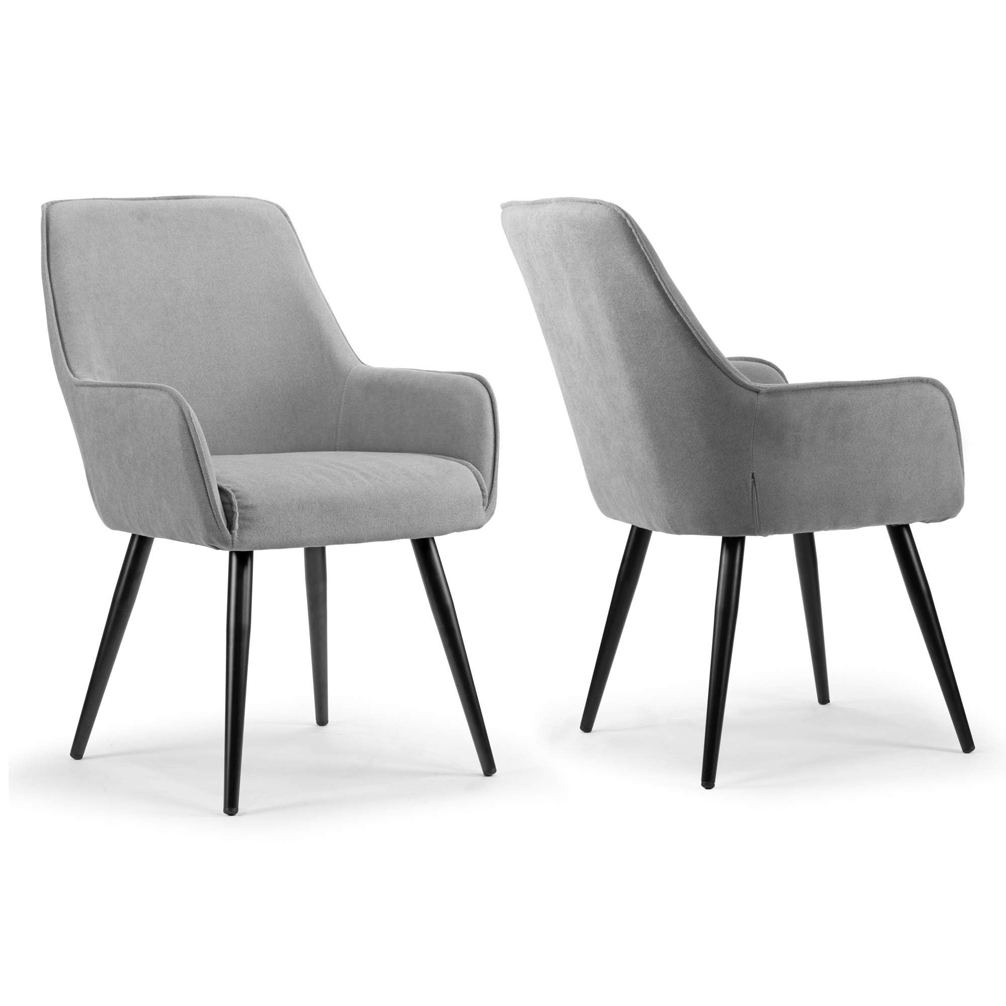 Set Of 2 Amir Grey Dining Chair With Black Metal Legs And