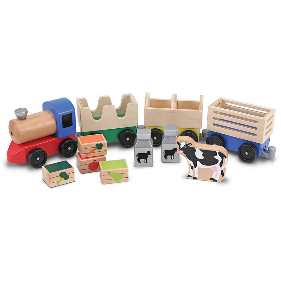 Image of Melissa & Doug Wooden Farm Train Set, Classic Wooden Toy, 3 linking cars