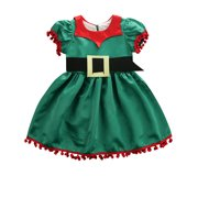 Toddler Baby Girl Kid Christmas Clothes Dress + Belt Xmas Skirt Party Tops Green