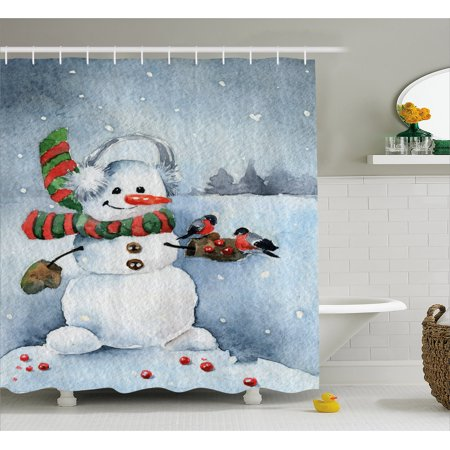 Snowman Shower Curtain Watercolor Style Snowfall Outdoors Merry Christmas Theme Winter Bullfinch Birds Fabric