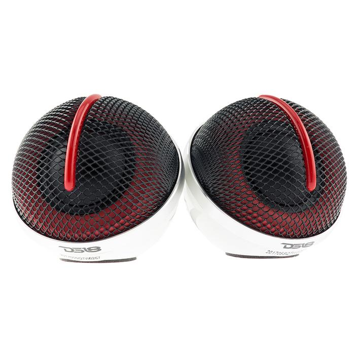 DS18 SQTW Tweeter 1.10-inch 120 Watts Max Silk Dome Neodymium Tweeter Sound Quality with 3M VHB Mounting Tape, Built-in Attenuation Switch (+2/0/-2) - Set of 2 (Black & Red)