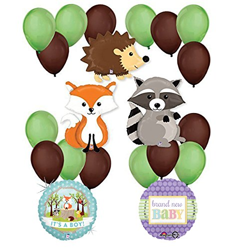 Woodland Critters Creatures Baby Boy Baby Shower Party Supplies and Balloon Decorations