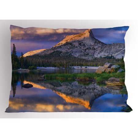 Lr Sham - Yosemite Pillow Sham Cathedral Peak in the Toulumne Meadows Area Idyllic Evening International Landmark, Decorative Standard Size Printed Pillowcase, 26 X 20 Inches, Multicolor, by Ambesonne