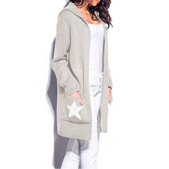 f50758b40 Women Winter Cardigan Long Hooded Pocket Open Front Oversized Knitted  Sweater Cardigan Outwear Coat Midi Length
