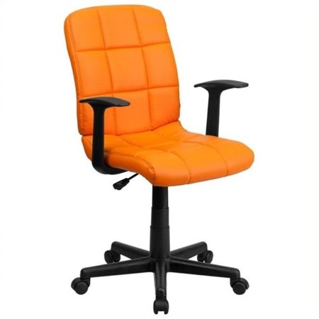 Scranton & Co Faux Leather Mid-Back Office Chair with Arms in (Orange Office Chair)