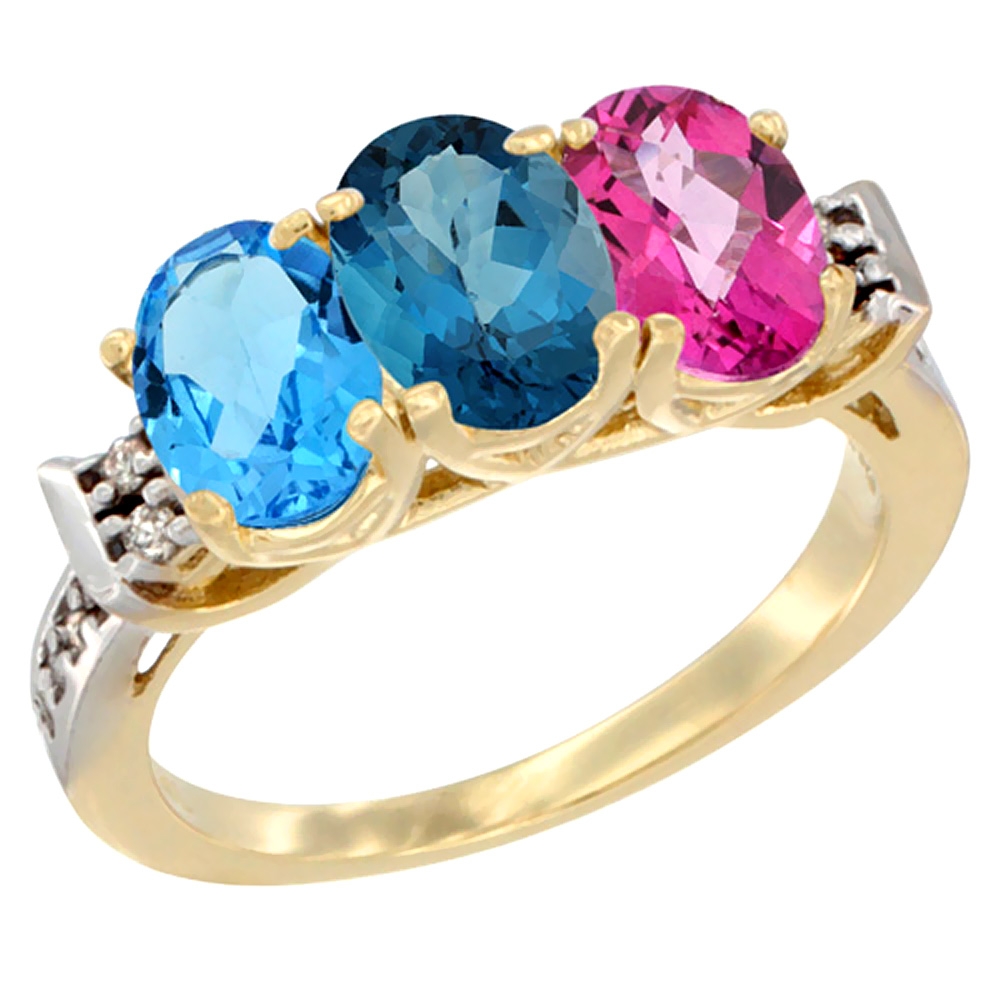 10K Yellow Gold Natural Swiss Blue Topaz, London Blue Topaz & Pink Topaz Ring 3-Stone Oval 7x5 mm Diamond Accent, sizes... by Yellow-Gold Pins
