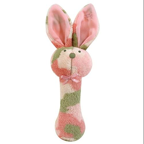 Stephan Baby Plush Fleece Bunnie Post Rattle, Pink Camo Print by Stephan Baby