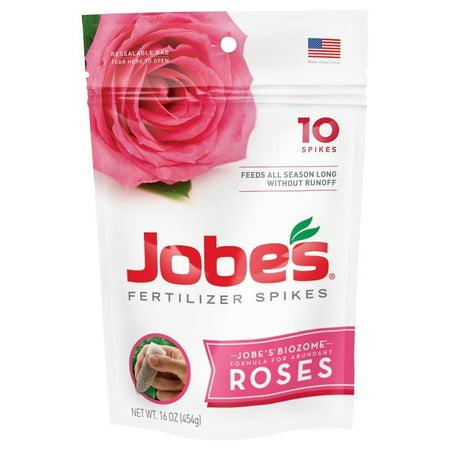 Jobe's Rose Fertilizer Spikes 9-12-9 Time Release Fertilizer for All Flowering Shrubs, 10 Spikes per Package, Pre-measured rose fertilizer spikes.., By