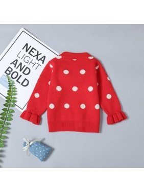 Christmas Toddler Baby Girls Dots Sweater Children Pullover Kids Outerwear