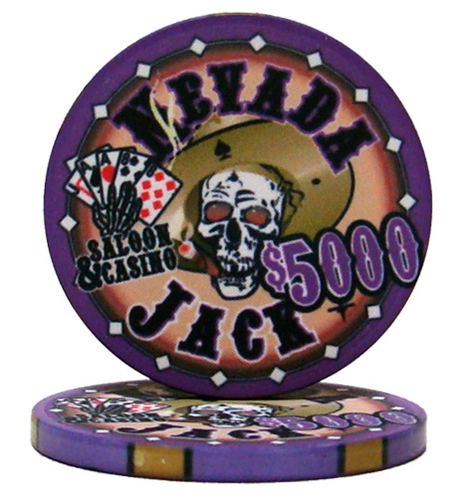 """Roll of 25 $5000 Nevada Jack 10 Gram Ceramic Poker Chip"" by BryBelly"