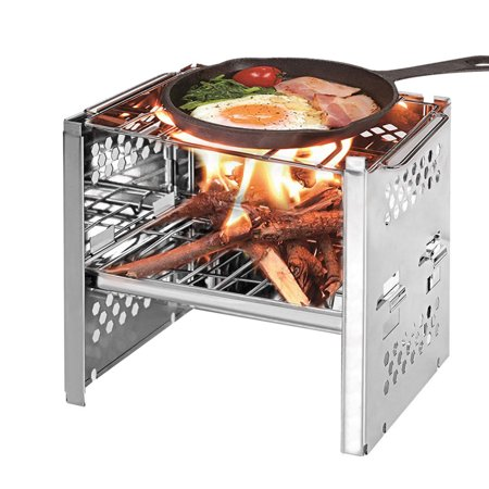 Potable Folding Stainless Steel Backpacking Stove Outdoor Wood Burning Camp Stove Picnic BBQ ()