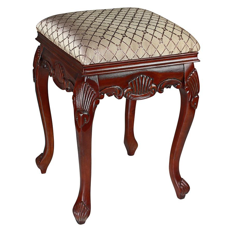 Hand-carved solid hardwood Cherry antique replica Queen Anne Stool