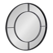 Kate and Laurel Kaveena Modern Round Metal Framed Wall Mirror, 30 inch Diameter, Black, Geometric Accent for Wall