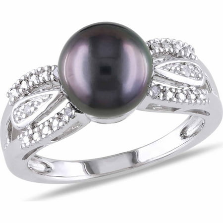 9mm-9.5mm Black Round Tahitian Pearl and Diamond-Accent Sterling Silver Cocktail Ring ()