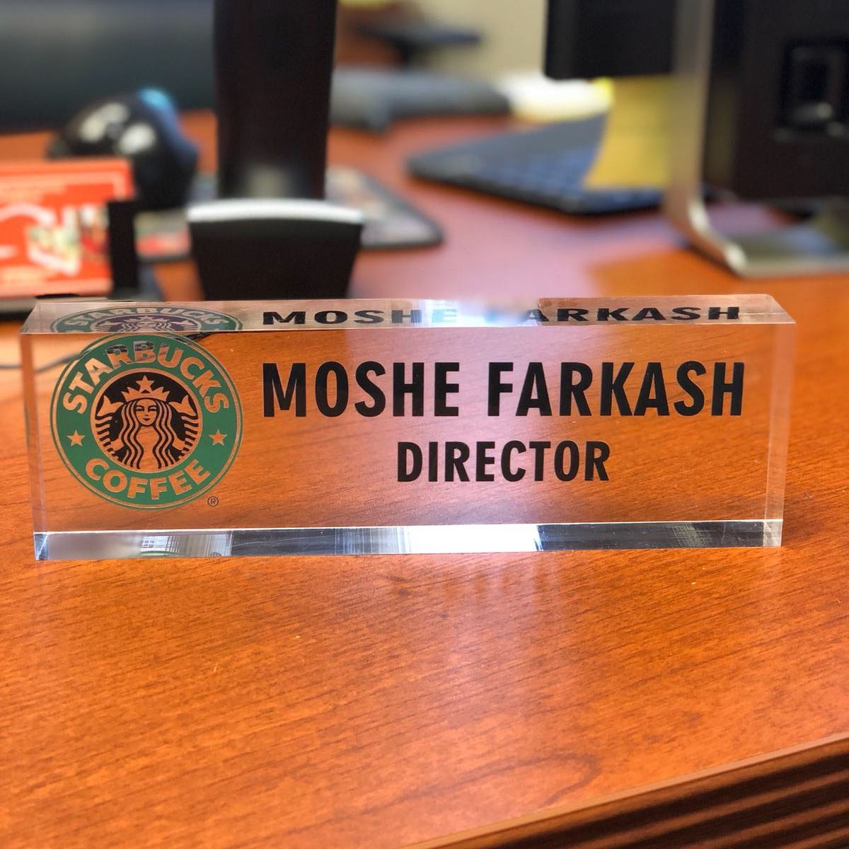 Click here to buy Desk Name Plate Personalized Name, Title & Logo on Premium Clear Acrylic Glass Block Custom Office Desk... by Artblox.