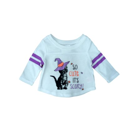 Infant Girl So Cute Its Scary Halloween T-Shirt Kitty Cat Tee (Scary Halloween Girl)