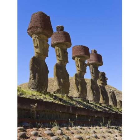 Rapa Nui Statues (Anakena Beach, Monolithic Giant Stone Moai Statues of Ahu Nau Nau, Rapa Nui, Chile Print Wall Art By Gavin Hellier )