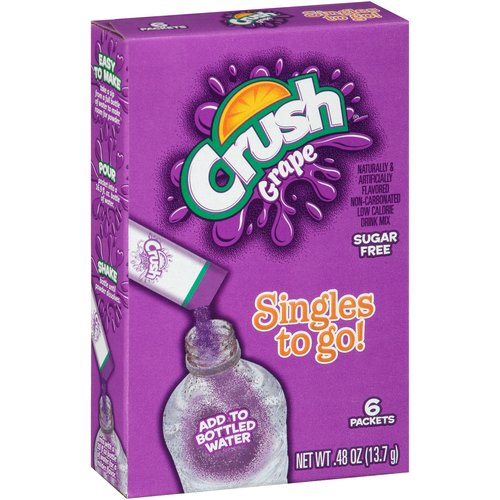 Crush Singles To-Go Grape Drink Mix, 0.45 Oz., 6 Packets