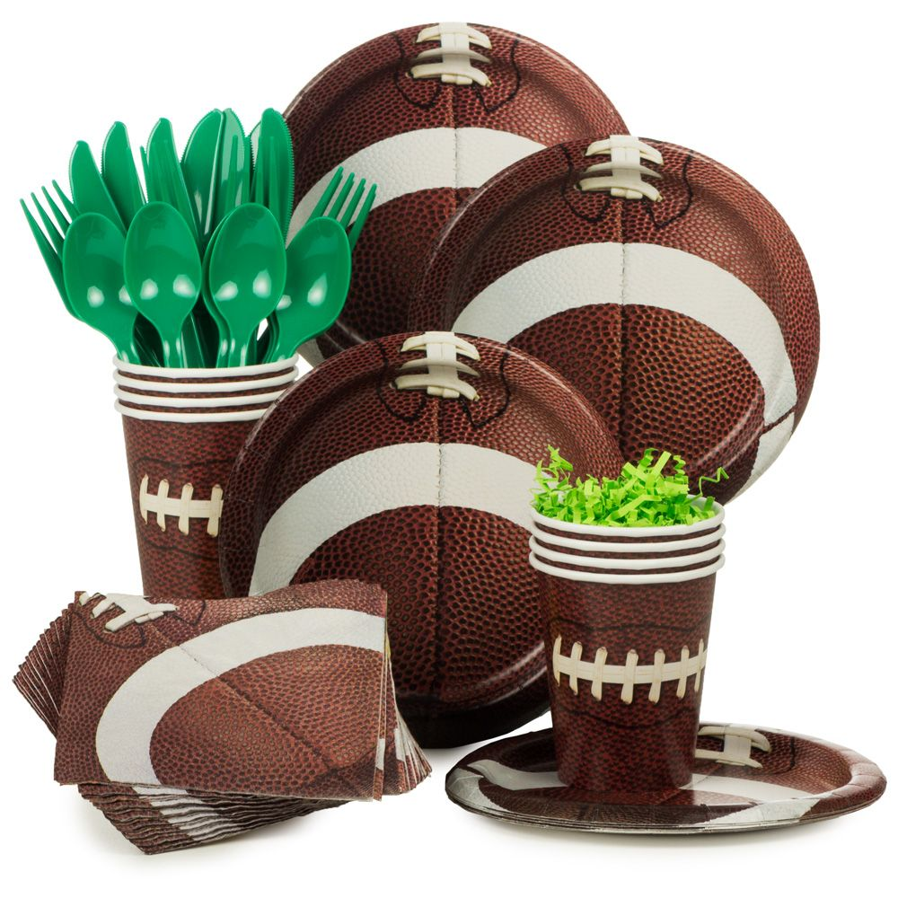 Football Birthday Party Standard Tableware Kit Serves 8 - Party Supplies
