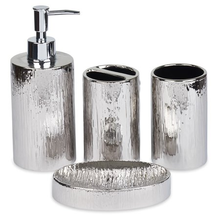 Bathroom Accessories Set, Toothbrush Holder, Soap Dispenser, Silver, Ceramic, 4 Piece (Bathroom Dispenser)