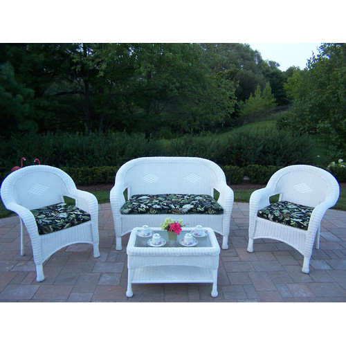 Oakland Living Resin Wicker 4 Piece Seating Group with Cushions by Resin Furniture