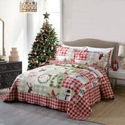 MarCielo 3 Piece Christmas Quilt Set Rustic Lodge Deer Quilt Quilted Bedspread Printed Quilt Bedding Throw Blanket Coverlet Lightweight Bedspread Ensemble/Snowman Quilt