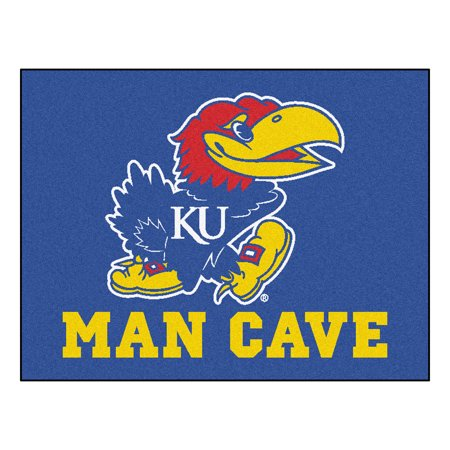 Kansas Jayhawks Mat - NCAA University of Kansas Jayhawks Man Cave All-Star Rectangular Mat Area Rug