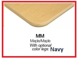 "30x72"" Rect Table Toddler Swivel Leg-Color:Maple-Maple Navy by ECR4Kids"