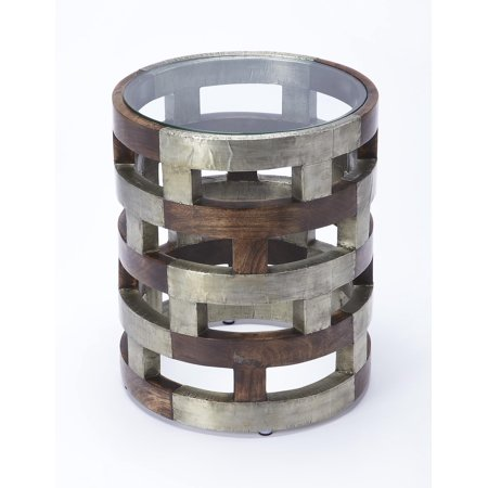 Butler Loft - Multi-Color - Round - Mango wood solids, Silver finished metal, Clear glass - BUTLER DEVLIN MODERN ACCENT TABLE Color Finished Solid Wood