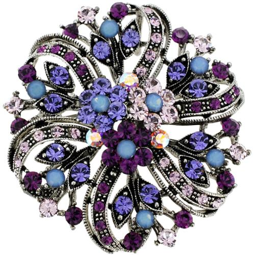 Fantasyard Silvertone Multi-colored Crystal Flower Bridal Brooch