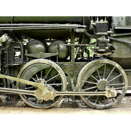 Rail Transportation Set - LAMINATED POSTER Wheel Transport Steam Engine Old Part Rail Poster 24x16 Adhesive Decal