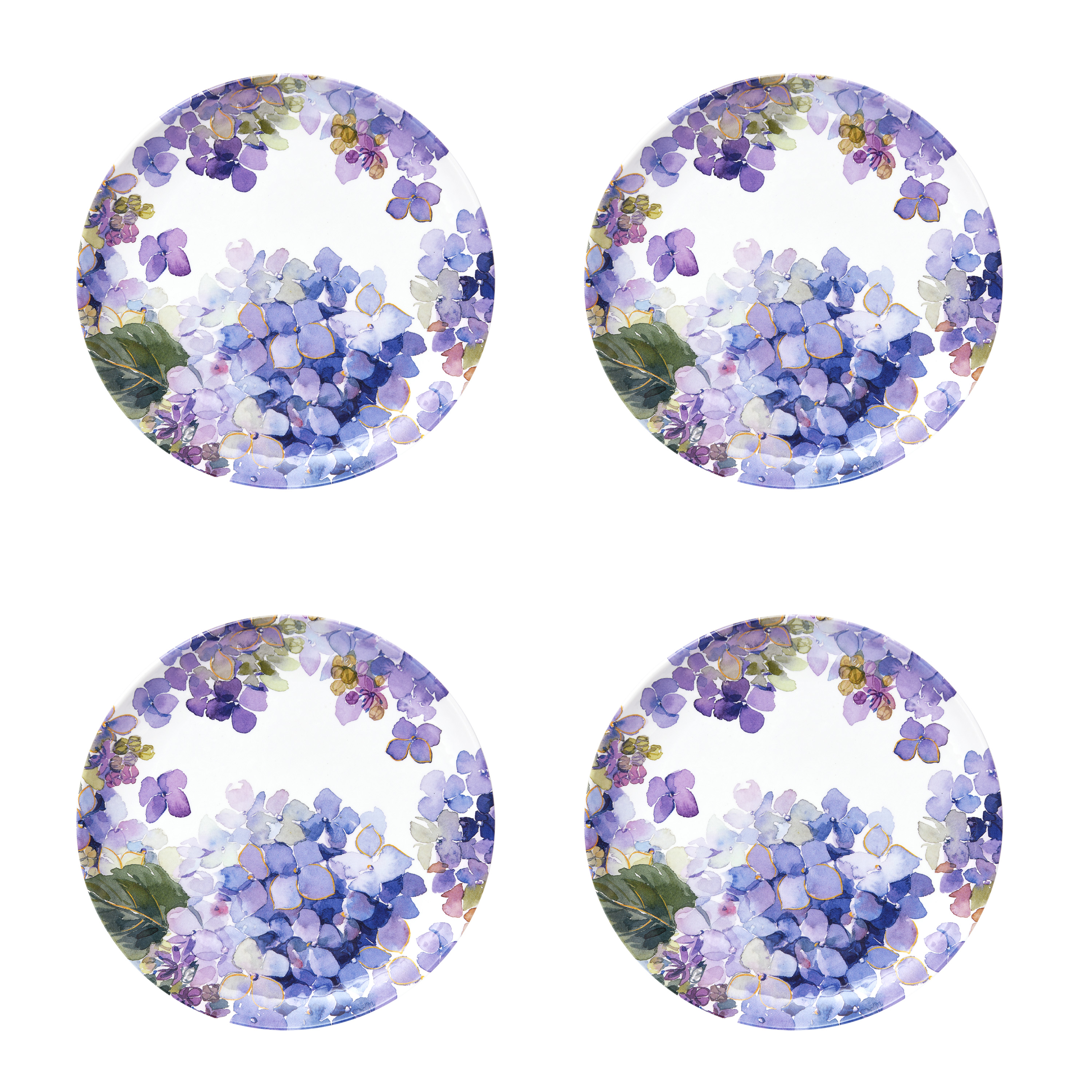 Better Homes & Gardens Hydrangea Purple Melamine Salad Plate, Set of 4