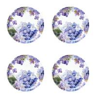 Better Homes & Gardens Outdoor Melamine Hydrangea Dinner Plate, Set of 4