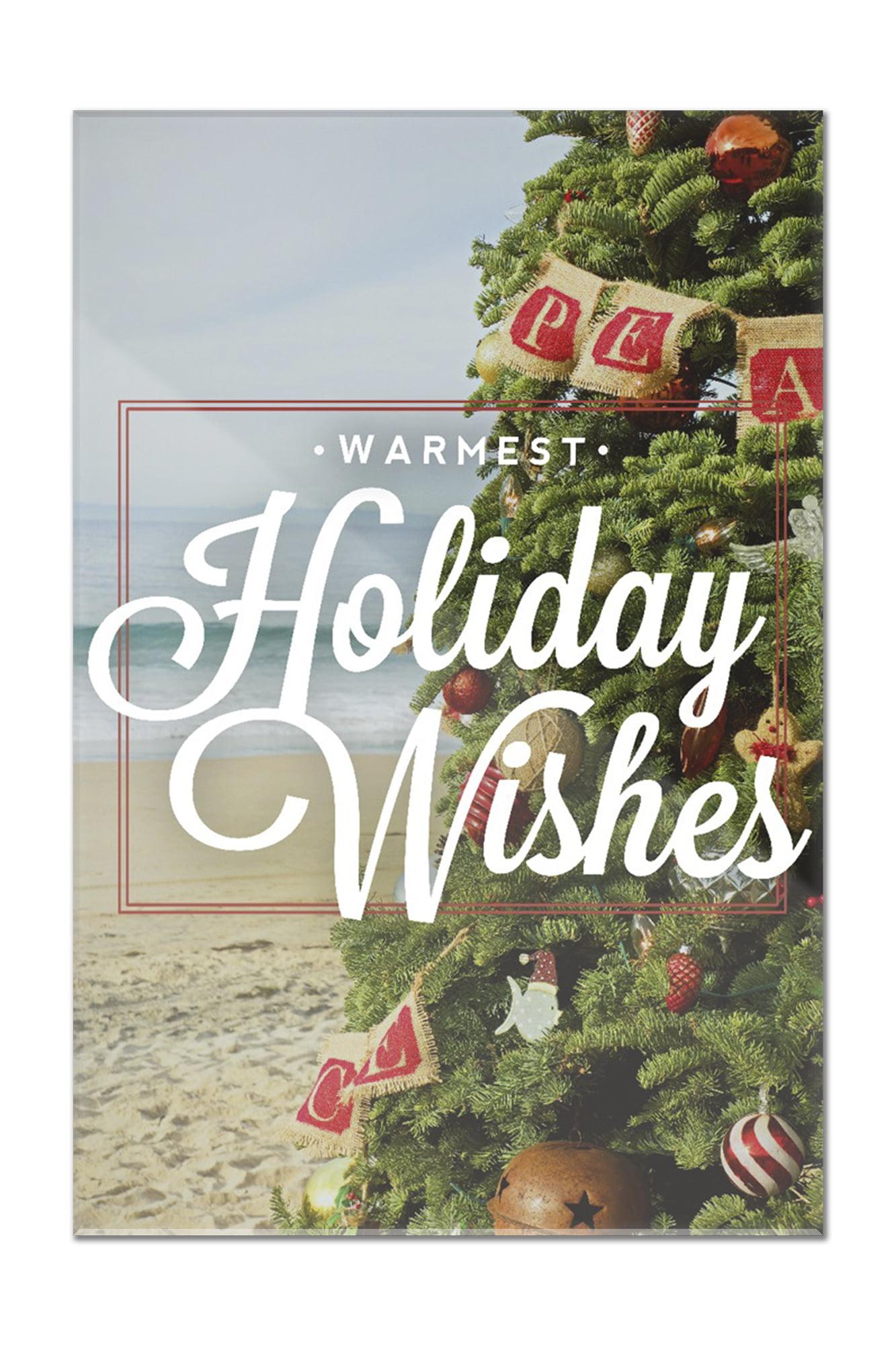 Warmest Holiday Wishes - Christmas Tree on Beach - Lantern Press ...