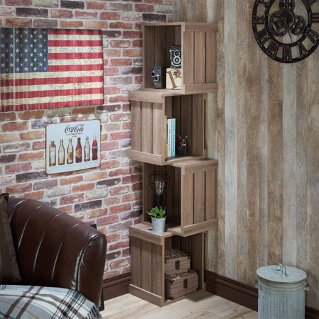 Furniture of America Bufay Rustic Stacked Bookshelf, Multiple - Stacking Bookcase