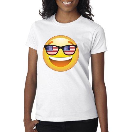 3070f79e0323f New Way - New Way 474 - Women s T-Shirt Emoji Smiley Face Usa American Flag  Sunglasses 4Th July - Walmart.com