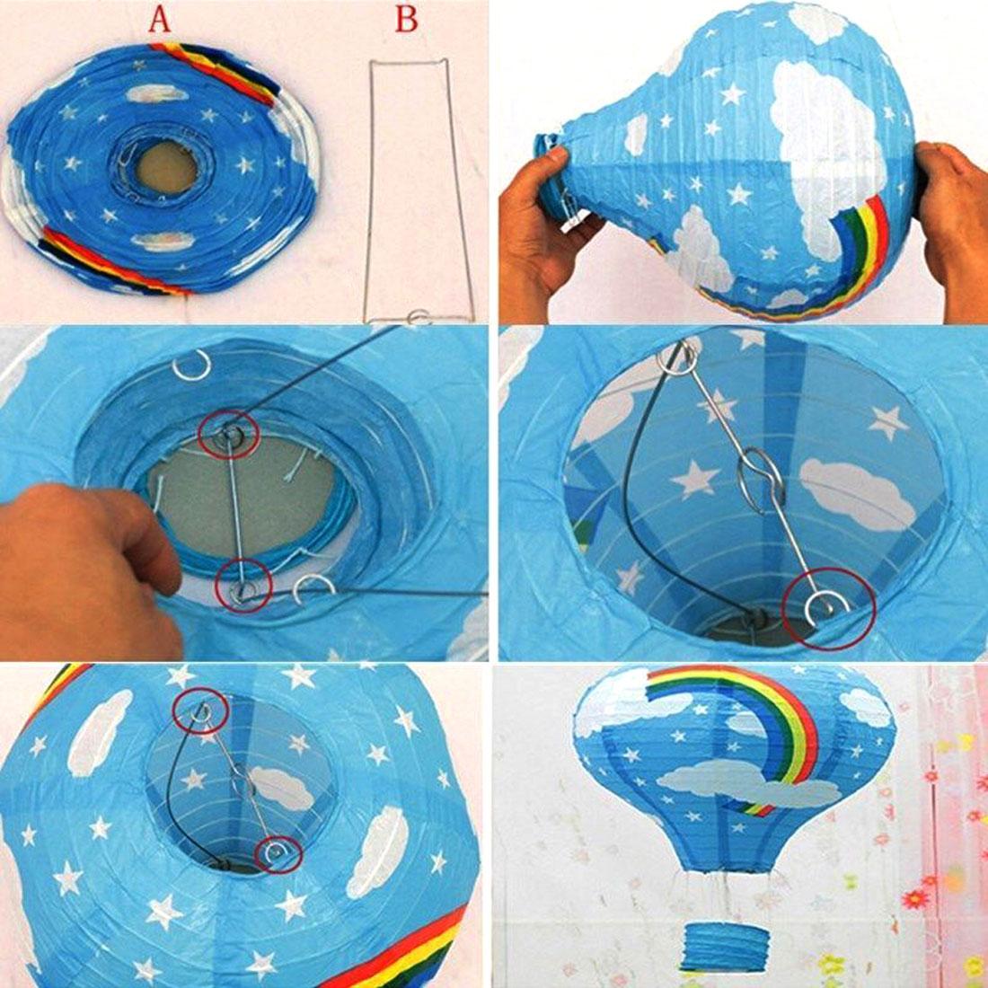 Festival Party Paper DIY Handmade Lightless Hot Air Balloon Lantern Green White - image 1 of 6