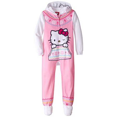 Hello Kitty Girls'  Hooded Fleece Blanket Sleeper Pajama, Sizes 4-10