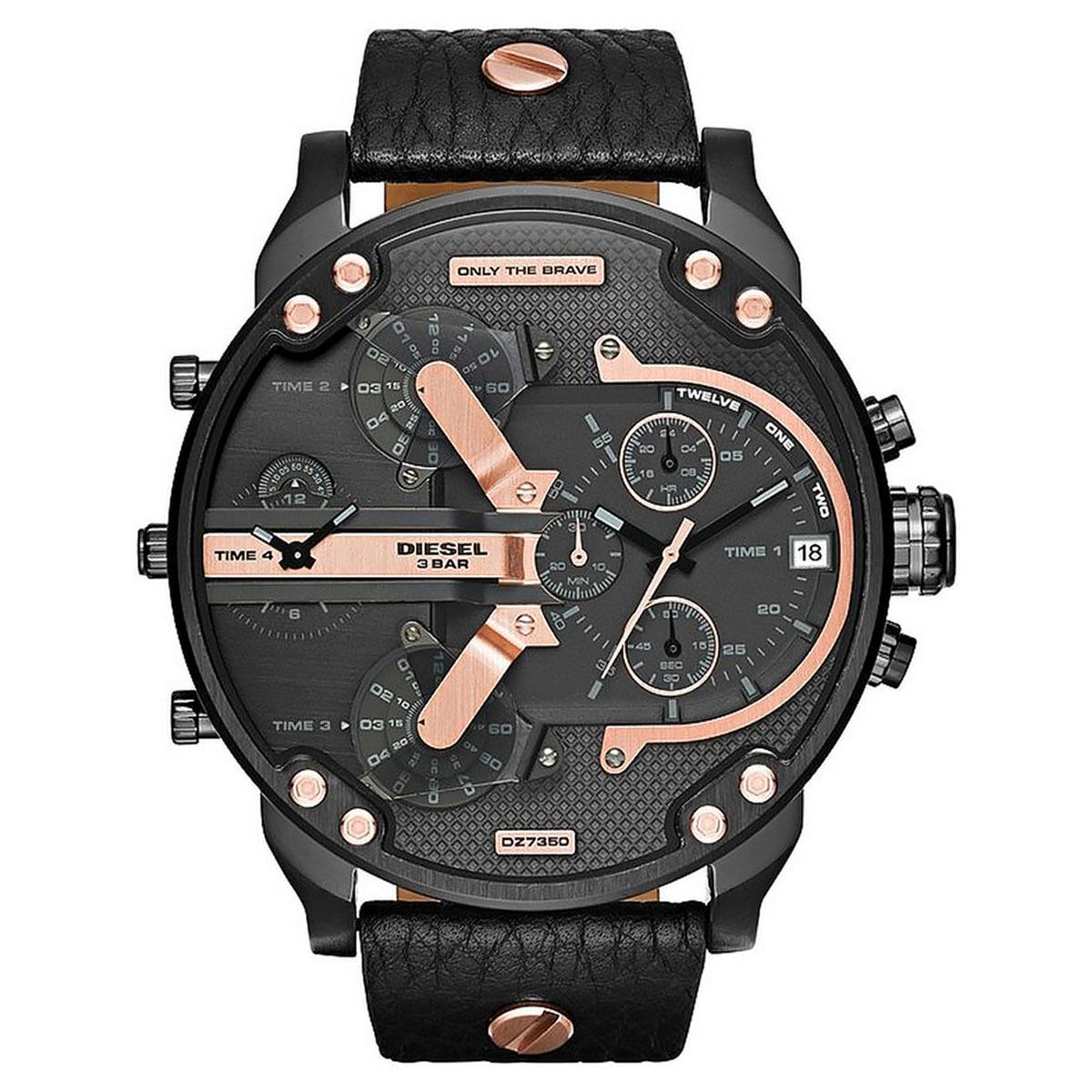 Men's DZ7350 Black Leather Quartz Watch