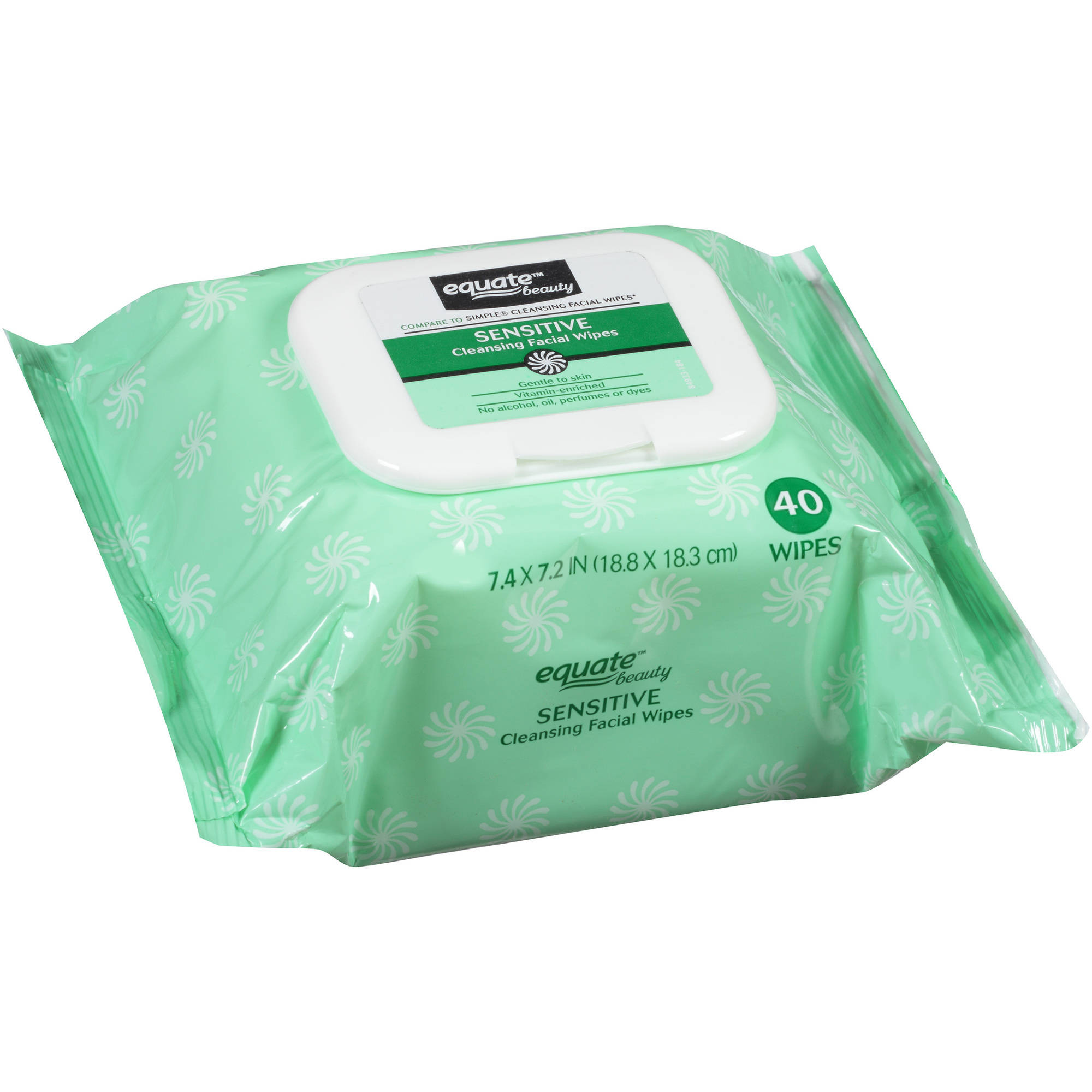Equate Beauty Sensitive Cleansing Facial Wipes, 40 sheets