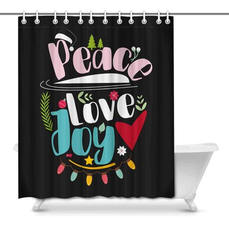 Mkhert Funny Christmas Quote Peace Love Joy Home Decor Waterproof Polyester Bathroom Shower Curtain Bath Decorations 66x72 Inch