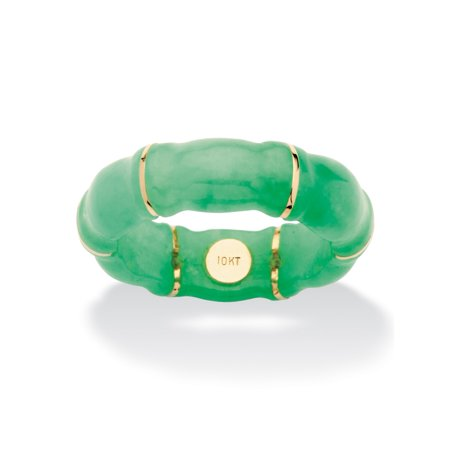 Gold Green Jade Ring (Genuine Green Jade Bamboo Ring in 10k Gold )