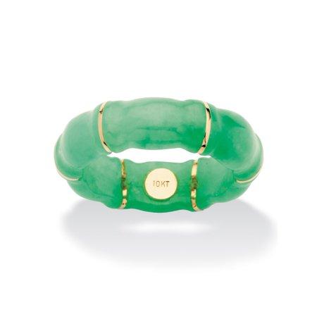 - Genuine Green Jade Bamboo Ring in 10k Gold
